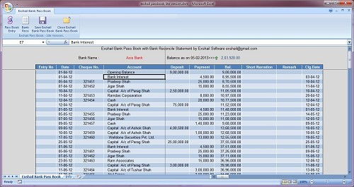 Excel Pass Book With Bank Reco For Excel 2007+  Bank Reconcilation Format