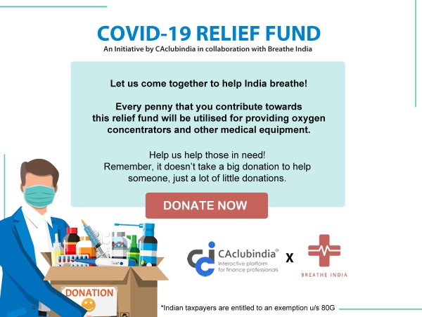 Fundraiser for COVID-19 by CAclubindia