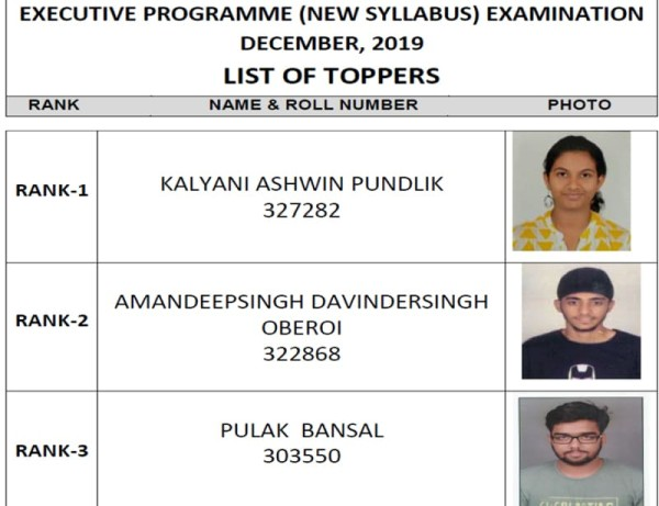Toppers of Executive Programme New Syllabus