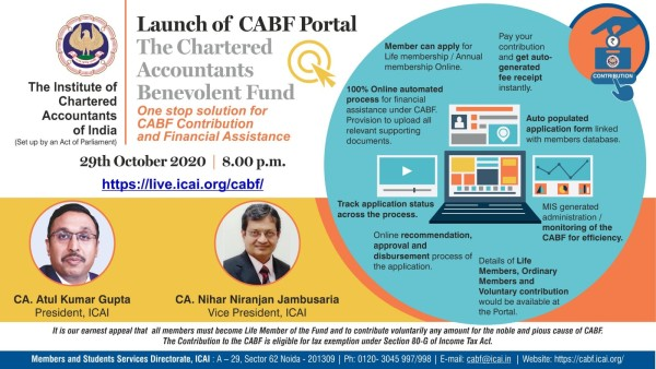 ICAI to launch The CABF Portal on 29th Oct 2020