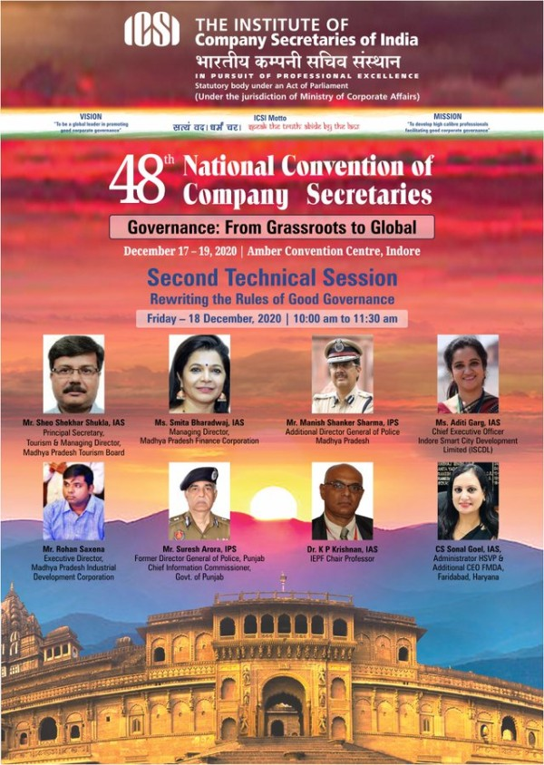 ICSI to have the 48th National Convention of Company Secretaries on 18th Dec 2020