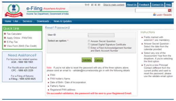 Tax Efiling: Income Tax Efiling Forgot User Id