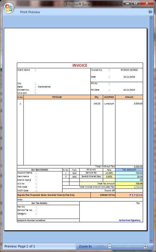 new service tax invoice with swatchh bharat cess in excel