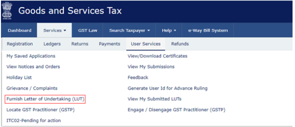 Online filing of letter of undertaking lut under gst 3 next screen will be as follow spiritdancerdesigns Gallery