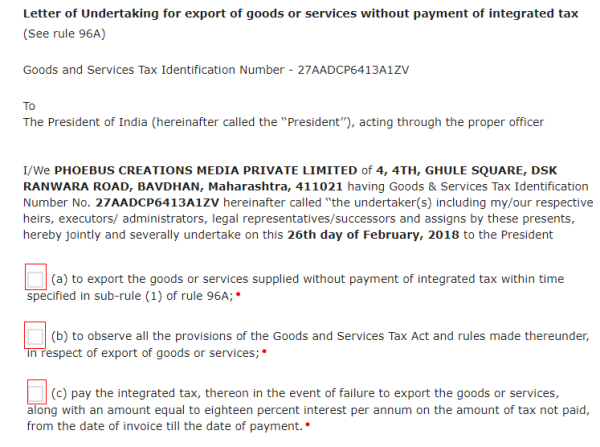 Online filing of letter of undertaking lut under gst fill compulsory fields on the opened form here you need to provide details of 2 witnesses spiritdancerdesigns Gallery