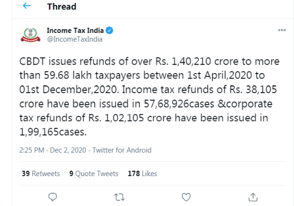CBDT issues refunds of over Rs. 1,40,210 crores to more than 59.68 lakh taxpayers between 1st April 2020 to 01st December 2020