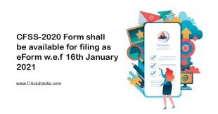 CFSS-2020 Form shall be available for filing as eForm w.e.f 16th January 2021