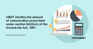 CBDT clarifies the amount of remuneration prescribed under section 9A(3)(m) of the Income-tax Act, 1961