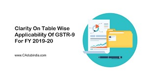 Clarity On Table Wise Applicability Of GSTR-9 For FY 2019-20